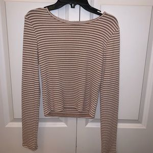 Striped Cropped Long Sleeve Top